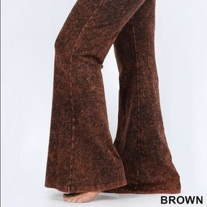 Pants - Plus size mineral wash flare- Brown